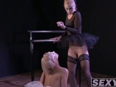 Blonde masked ballerina gets fingered by a blonde colleague