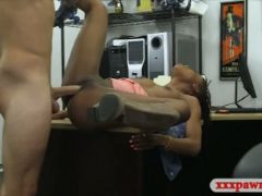 Ebony drilled by her pervert pawn dude in the back office