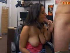 Busty brunette banged by horny pawn man at the pawnshop