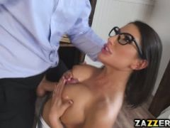 August ames loves showing off her perfect tits to older men