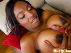 Extremely hot ebony babe with huge tits and round butt gets pussy bang