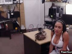 Hot and busty latina riding a huge dick in the pawnshops office