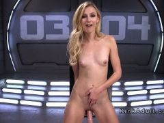 Blonde newcomer fucks machine standing
