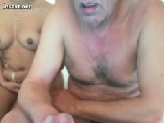 Old guy and latin girl on webcam