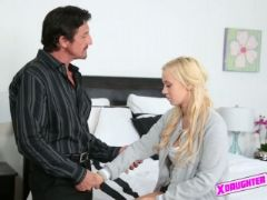 Sweet teen blonde seduced and fucked by her friends dad