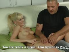 Innocent sweetie stretches juicy vagina and gets deflorated