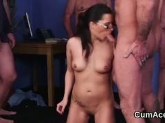 Frisky babe gets cumshot on her face sucking all the juice