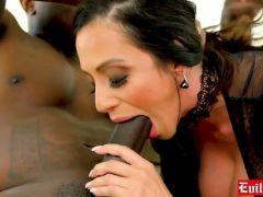 Huge boobs latina milf deepthroats a large black cock