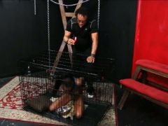 Caged ebony slave harmonys candle wax punishment and black bdsm of dar