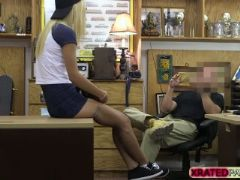 Horny pawnman fucks a hot blonde babe in his office