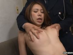 Sweet looking female prisoner gets used by a horny guard he gives her