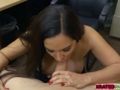 Nasty milf bangs a horny pawndude in his office for cash