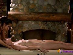 Sensual massage leads to lesbian fun