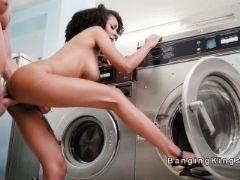 Classmate bangs ebony in laundromat
