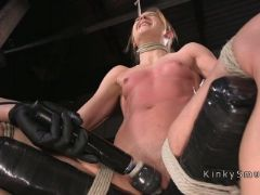 Toned small tits slave vibed and toyed