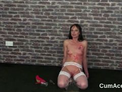 Sexy babe gets cumshot on her face sucking all the love juice