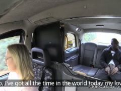 Blonde female fake taxi driver gets black cock