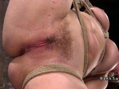 Slave tied up on wooden ladder got anal