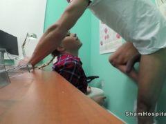 Blonde cleaning hottie bangs doctor