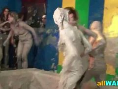 Crazy paint wrestling with sexy wild girls