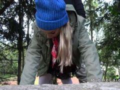 Hot blonde bangs big dick in woods