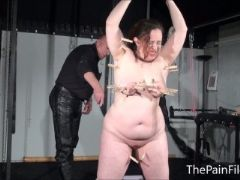 Bbw bdsm slave nimues tit torments and fierce whipping of crying amate