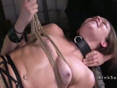 Two slaves fucked in rope suspension