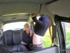 Big tits stunning blonde sucks in fake taxi