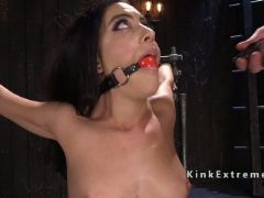Gagged in device bondage gets fisted