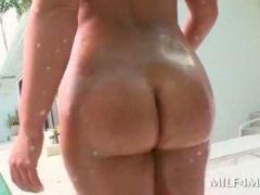 Wet ass busty milf eats huge cock on knees