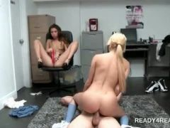 Blonde riding cock on the floor for money