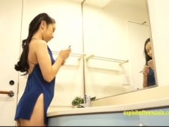 Jav debut teen asuka teases in her small swimsuit and nighty hides her
