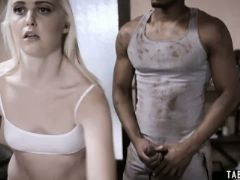 Blind teen fucked by a fake black doctor who is the gardener