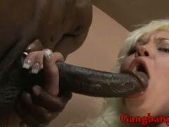 Busty blonde anal interracial gangbang