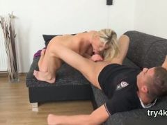Sensual chick sucks dick in pov and gets slim slit screwed