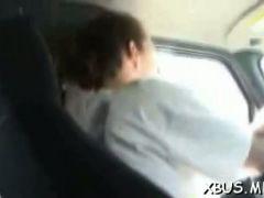 Slut strips off to fuck in a bus