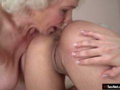 Babe aysha licks a grannys hairy pussy