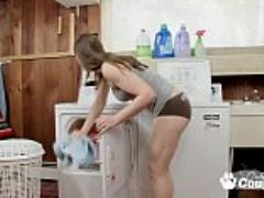 Chunky housewive sheila masturbates on the washing machine