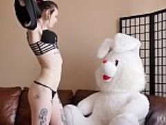 Black goth girls agrees to suck and fuck with teddy bear at casting sesion