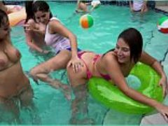 Girls gone wild young latin lesbians have a pool party then eat pussy