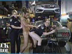 Black patrol busty white cops shut down a chop shop and ride big black cock