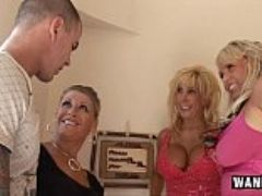 Horny housewives gangbang lucky guy