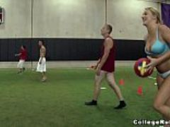 Young teens play strip dodgeball on college rules cr